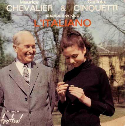 Disque 45 tours de Maurice Chevalier et G. Cinquetti en duo