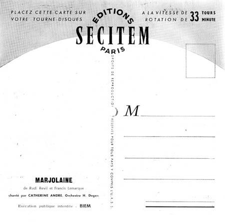 "Carte postale sonore ""SECITEM"" verso"