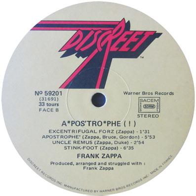 "Album ""Apostrhope"" de Frank Zappa"